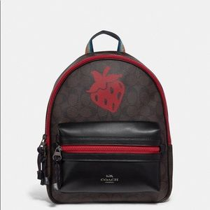 Coach Medium Charlie Backpack W Strawberry Motif